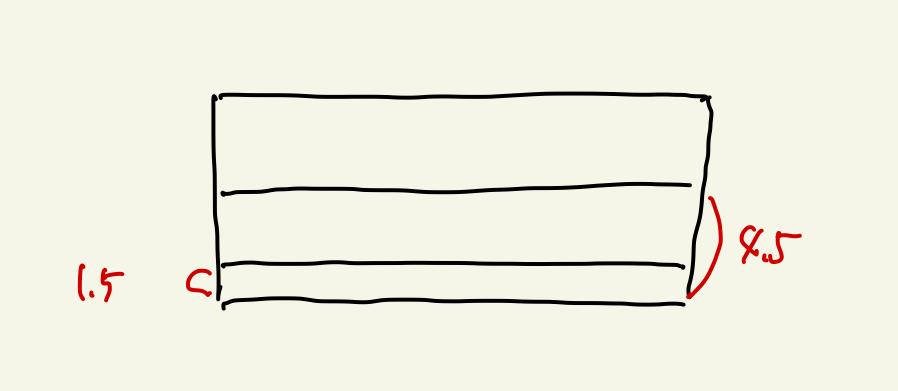 1.5cmと4.5cmの線