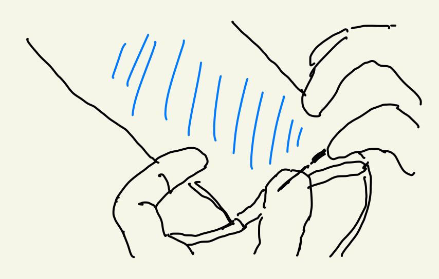端をまつり縫い